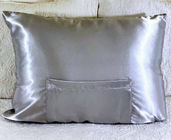 Soft Silver Satin TheraPocker® With Lux Plush hot cold pack to soothe and help you rest